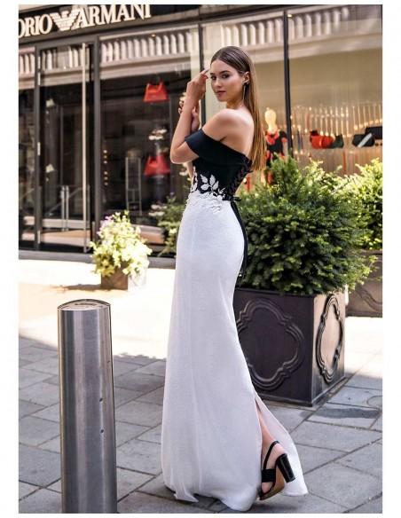 vestido largo gala fiesta escote espalda bardot flores recto espalda
