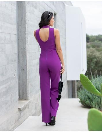 Lacey long halter-neck purple jumpsuit for events