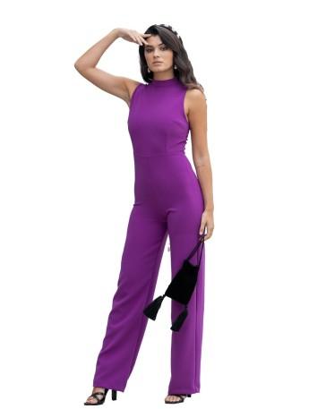 Lacey long halter-neck purple jumpsuit by Maui