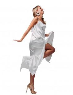 Vestido largo lencero blanco con tirantes de Hinsomnia