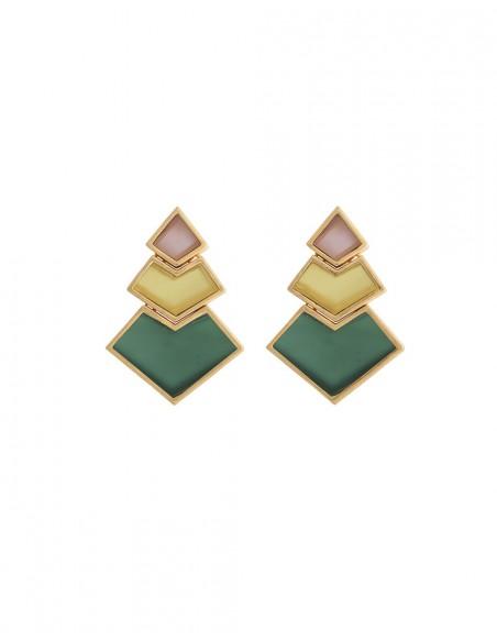 Earrings pyramid lavani orange yellow green