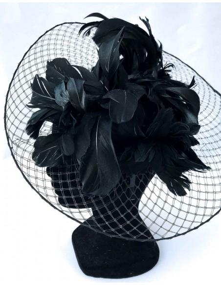 Base de velo con plumas naturales de oca en negro para fiesta
