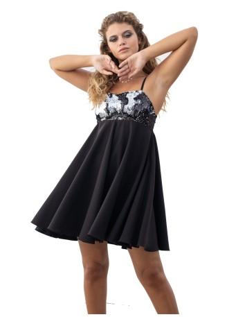 Vestido de fiesta negro con escote de lentejuelas de Maui