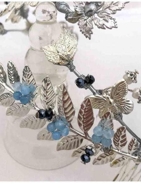 Tocado joya en plata con piedras naturales para invitadas