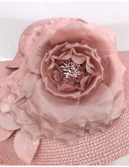 Pamela nude en paja sintética y flor de seda para bodas de día