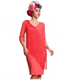 Vestido de cóctel coral con flecos - Anastasia