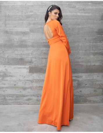 Vestido largo de fiesta con espalda descubierta naranja para bodas de tarde