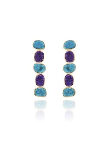 pendientes lavani drusa azules