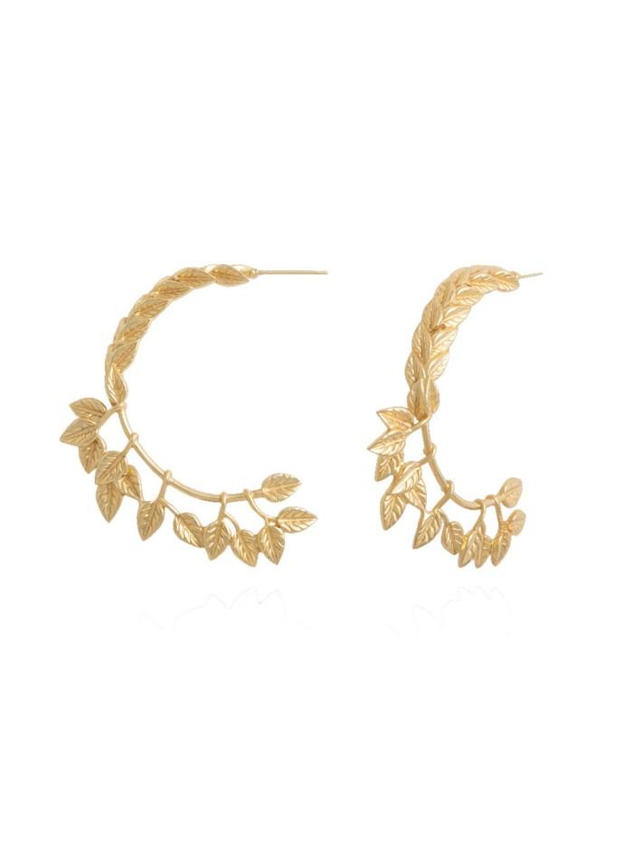 hoop earrings golden leaves lavani