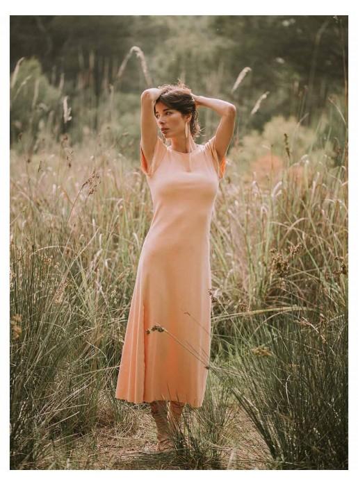 pink salmon long maxi party dress eco photo