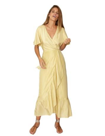yellow midi dress crossed neckline party sleeve ruffle model