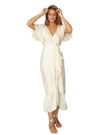 Midi cut dress with ruffle...