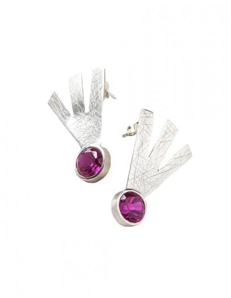 INVITADISIMA abstract silver earrings