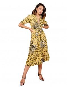 animal print shirt midi dress bow detail sleeves model