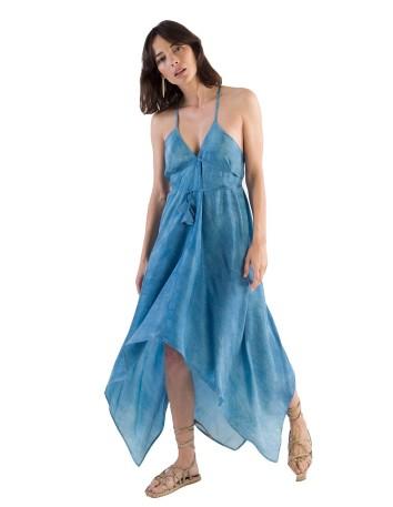 vestido largo azul teñido mano eco fiesta evento tirantes nudo pico