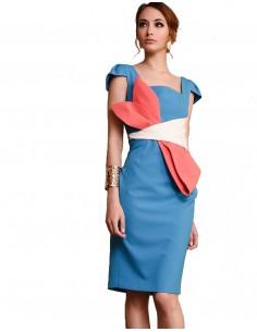 Vestido de cóctel azul con lazo - Angélica