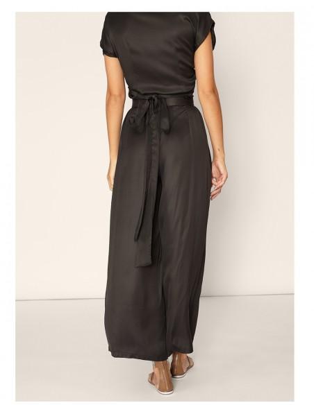 fluid wide black trousers high waist waist folds back