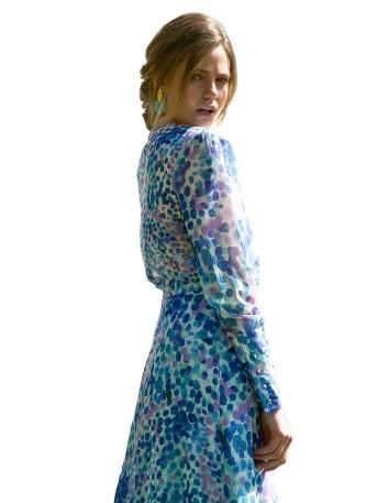 Conjunto de top y falda tonos azules - Graziella para invitadas a bodas y eventos INVITADISIMA