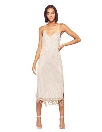 vestido midi coctel plata flecos fiesta evento invitada tirantes bordado