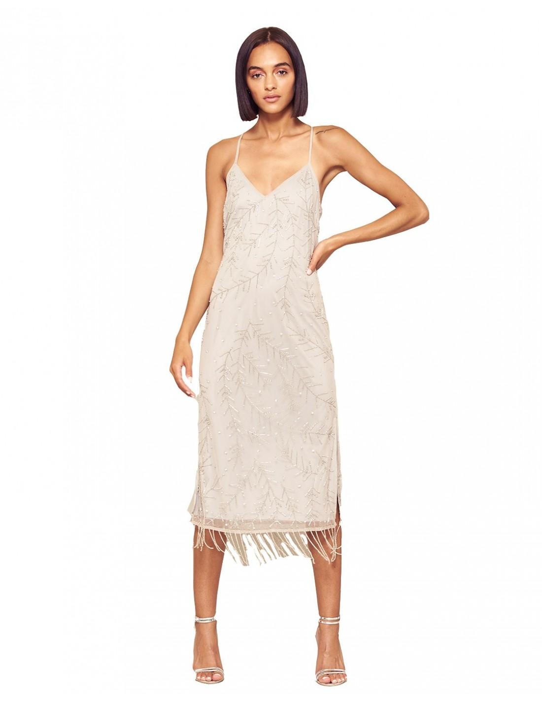 Vestido De Cóctel Plata Con Tirantes Y Adorno De Flecos Invitadisima Talla Ropa 36 Colores Plata