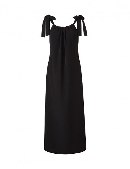 Black dress with ribbon detail in straps for INVITADISIMA