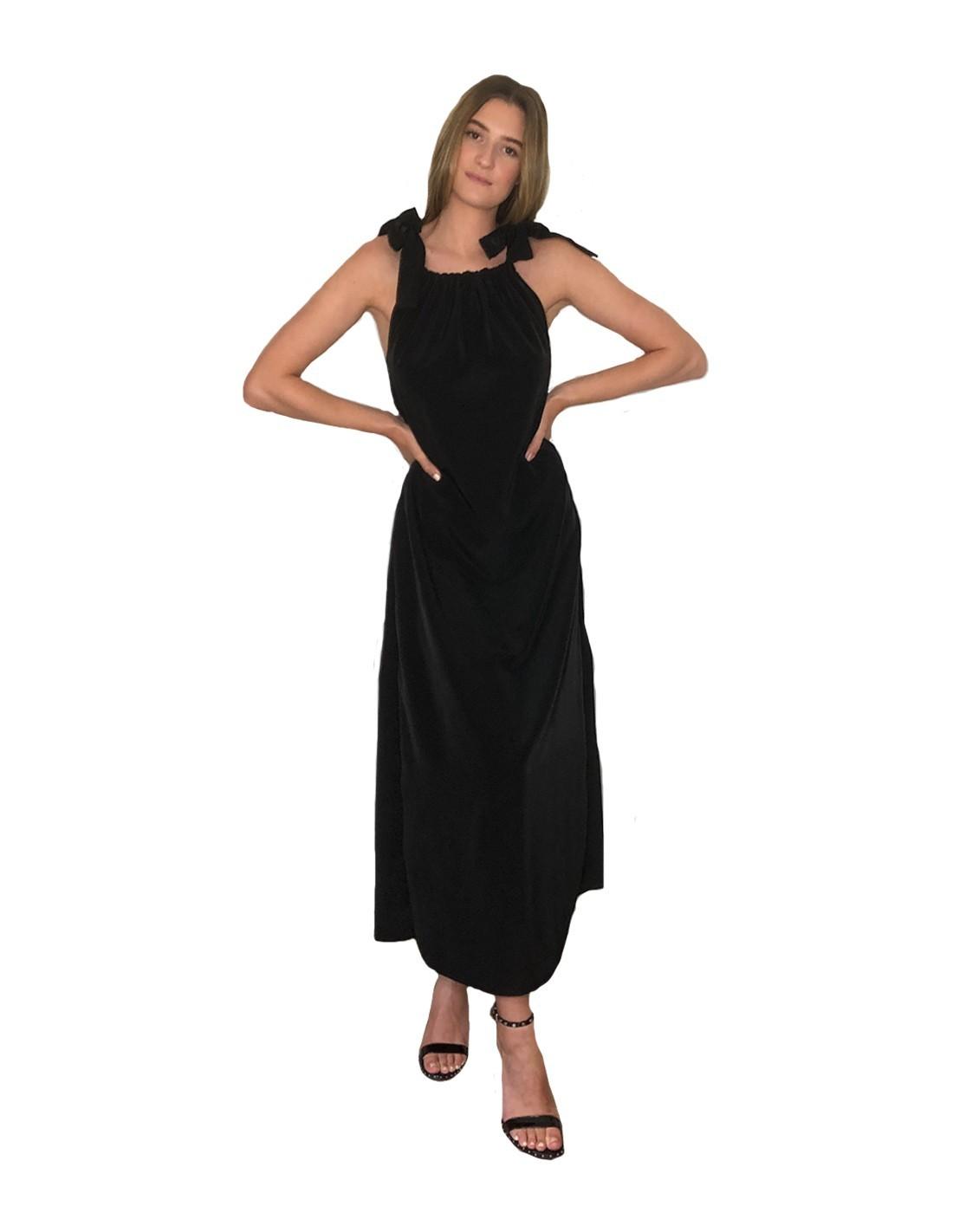 Vestido Negro Con Lazos De Tirantes Invitadisima