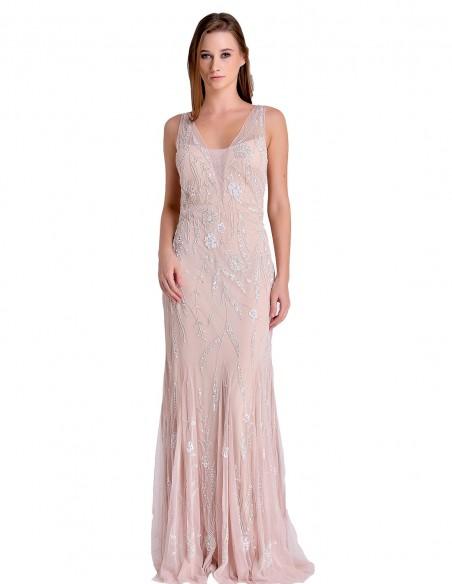 Vestido Largo De Fiesta Rosa Empolvado Con Pedrería