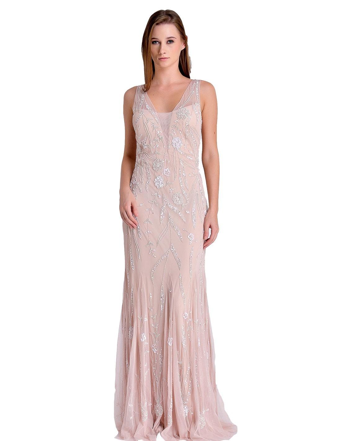 Vestido Largo De Fiesta Rosa Empolvado Con Pedrería Invitadisima Talla Ropa Xs Colores Rosa Empolvado