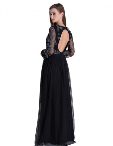 Vestido Largo De Fiesta Negro Con Pedrería Y Espalda Descubierta