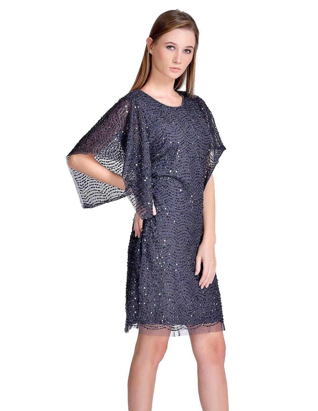 Vestido De Fiesta Gris Oscuro Con Manga Capa Y Lentejuelas Talla Ropa S Colores Plata