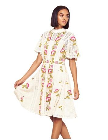 vestido coctel midi bordado flores fiesta invitada manga corta encaje