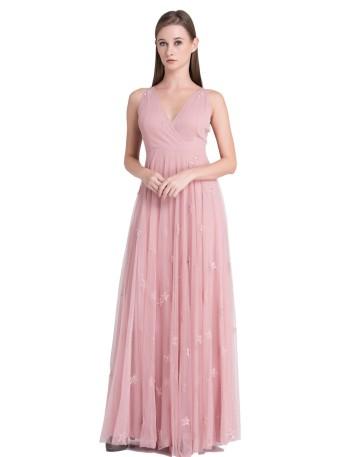 Vestido largo de tul rosa empolvado con adornos de estrellas de Crazy London