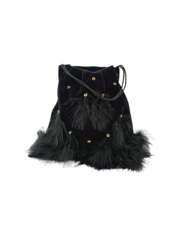 Bolso de mano en terciopelo negro con plumas y lentejuelas de Cala by Lilian