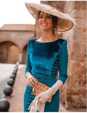 Vestido de coctel con drapeados y terciopelo - INVITADA PERFECTA