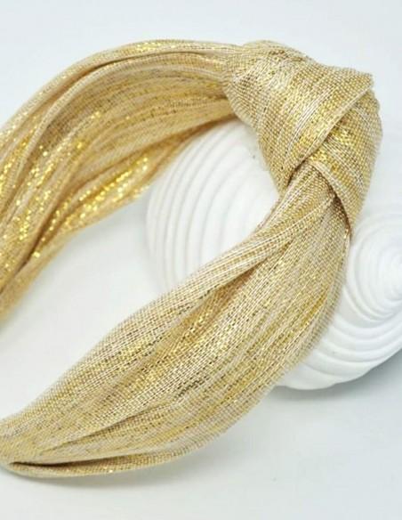 Diadema turbante en tonos dorados de fiesta