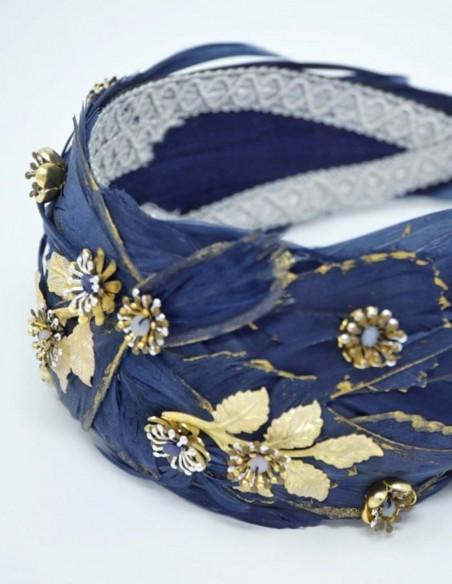 Goose feather headband with semiprecious stones for weddings