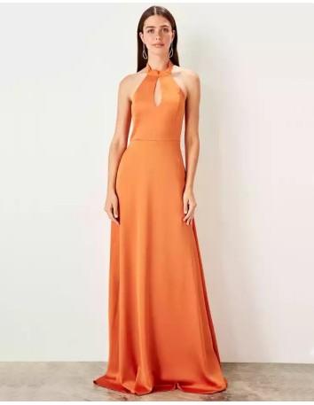 maxi dress orange for wedding guest