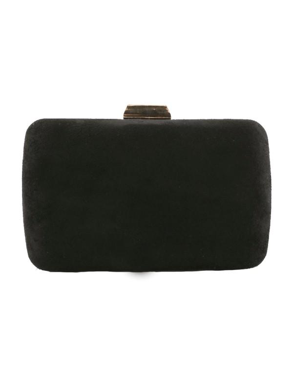 Bolso de fiesta efecto antelina de color negro de Lauren Lynn London