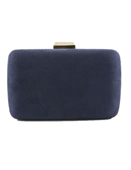 suede clutch bag in navy blue