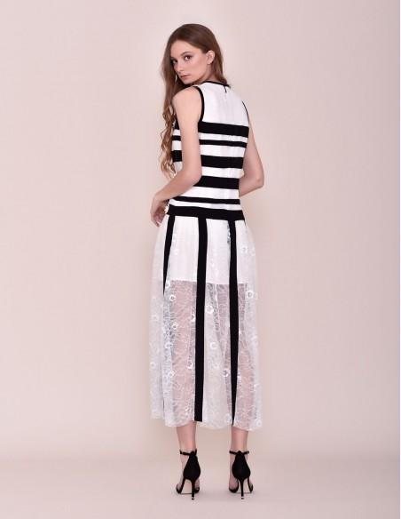 Vestido Midi blanco y negro con margaritas para fiesta