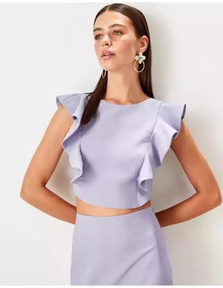 Set of skirt and crop top for angel sleeve guest Lauren Lynn London - 2