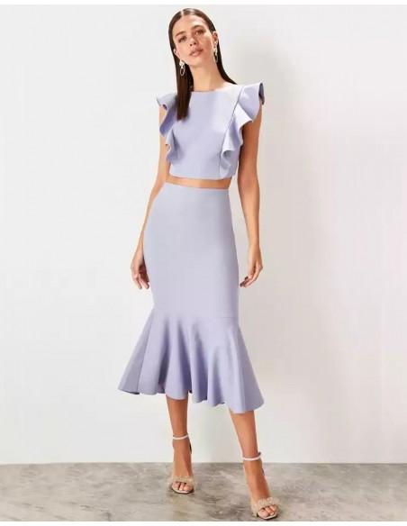 Set of skirt and crop top for angel sleeve guest Lauren Lynn London - 4