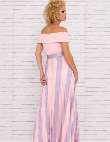 vestido fiesta largo estampado rayas asimatrico escote barco boda