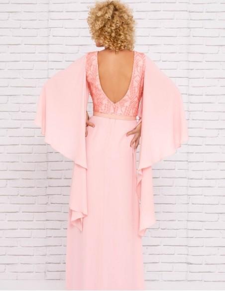 vestido largo boda rosa espalda manga mariposa encaje modelo