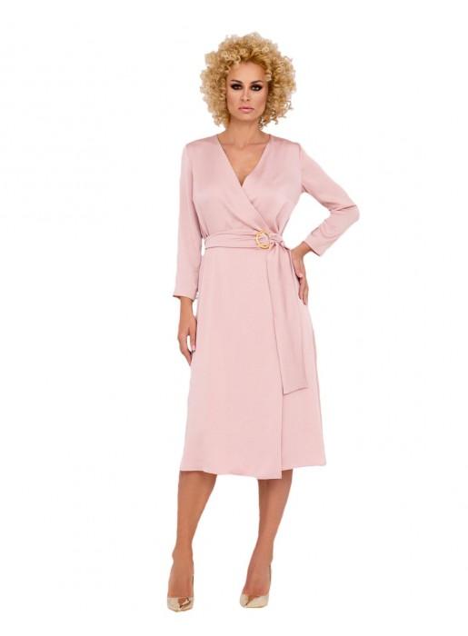 pink midi dress v necklines crossed cocktail long sleeves wedding guest