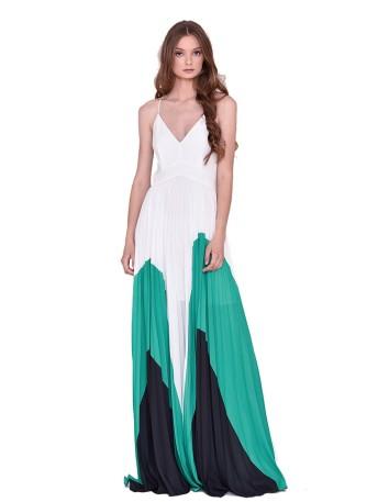 Vestido largo verde blanco INVITADISIMA