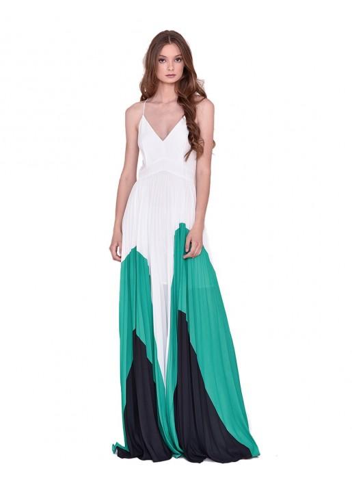 Long dress green white INVITADISIMA