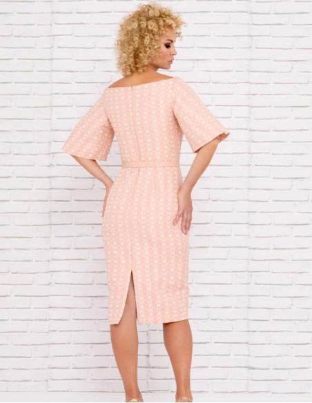 vestido coctel ajustadoinvitada nude rosa mangas cuello barco boda comunion invitada detalle
