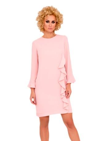 vestido corto fiesta evento formal manga larga rosa volante detalle recto