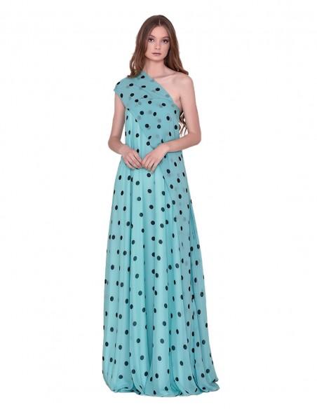 Long polka-dot party dress at INVITADISIMA